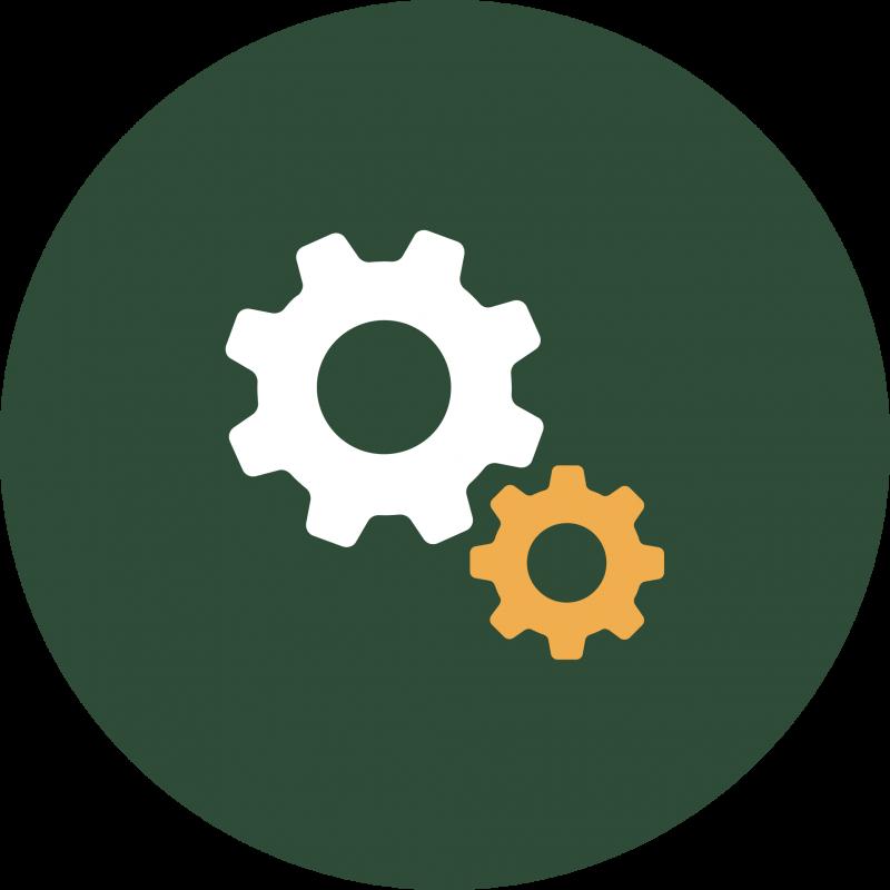 Green symbol with cog wheels